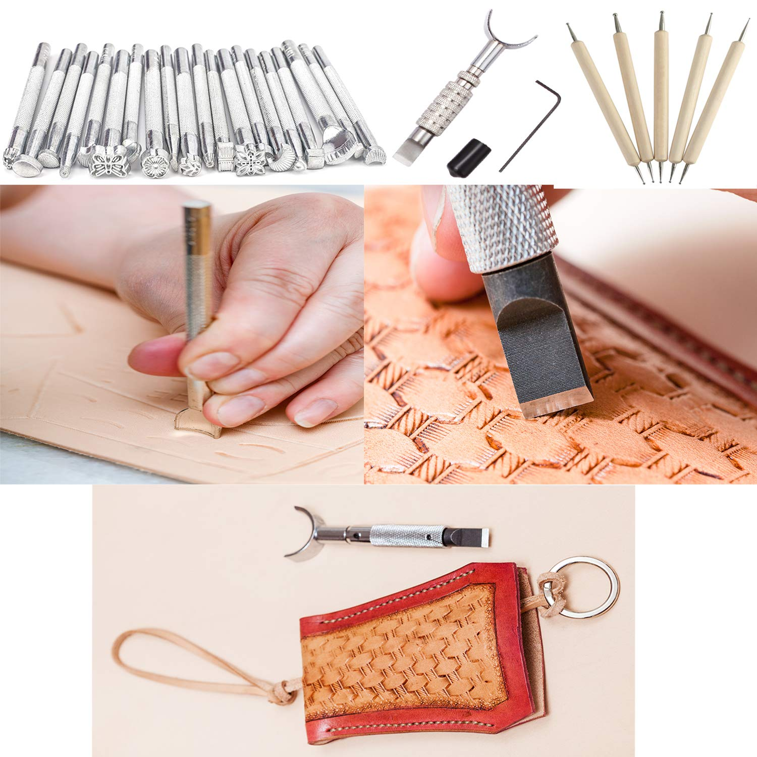 Dorhui 372 Pieces Leather Crafting Tools,Leather Tools Leather Working Tools and Supplies, Leather Craft Stamping Tool, Prong Punch, Hole Hollow Punch, Matting Cut for DIY Leather Artworks by Dorhui (Image #2)