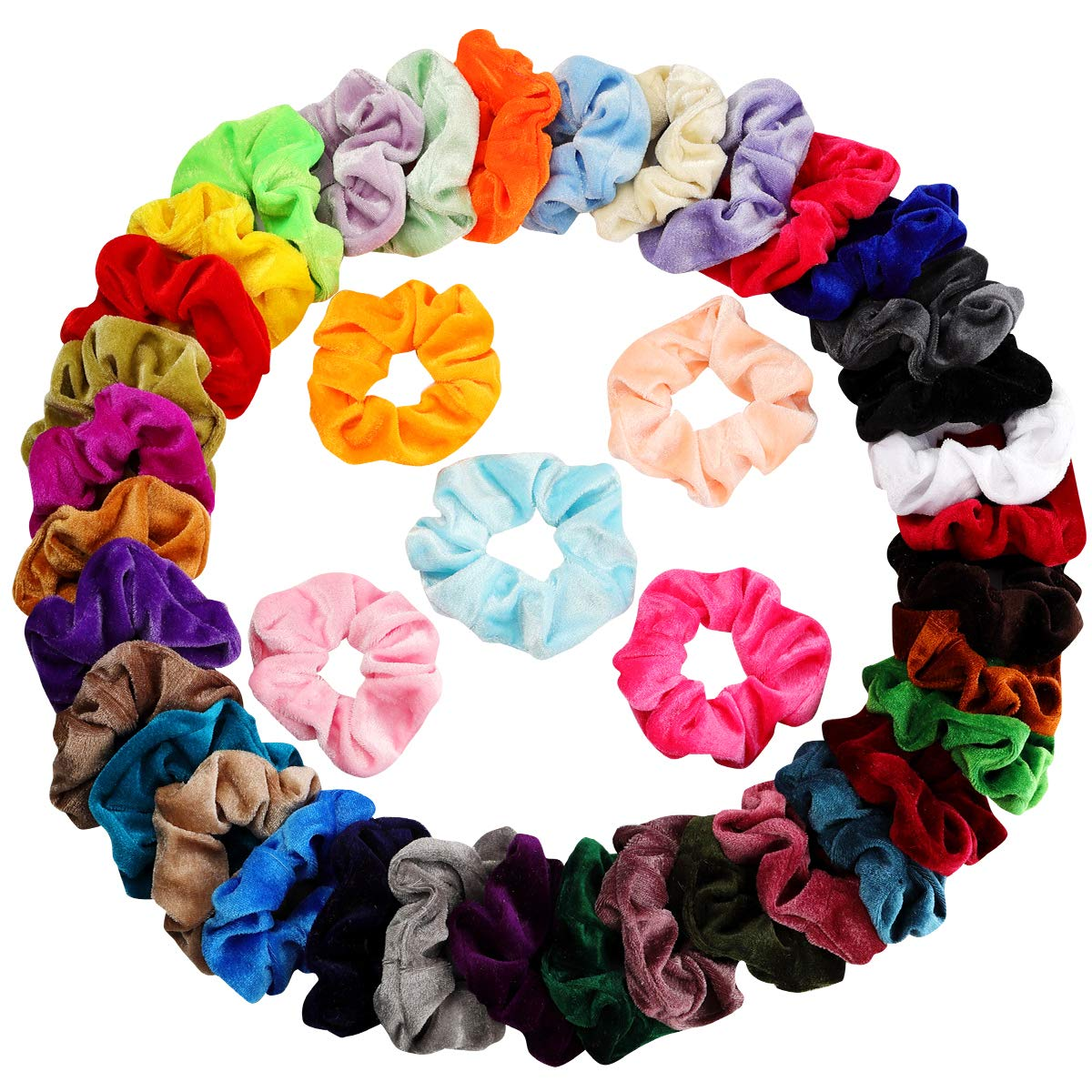 Mandydov 40pcs Hair Scrunchies Velvet Elastic Hair Bands Scrunchy Hair Ties Ropes 40 Pack Scrunchies for Women or Girls Hair Accessories - 40 Assorted Colors Scrunchies by Mandydov (Image #3)