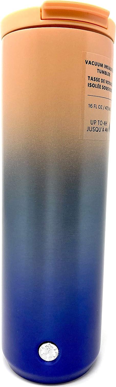 Starbucks Vacuum Insulated Stainless Steel Traveler Tumbler Coffee Mug 16 Oz - Pink Blue Gradient
