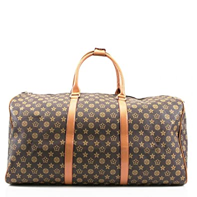576fe507b282 Womens Ladies Designer Barrel Style Check Floral Hangbag Travel Luggage Bag   Amazon.co.uk  Shoes   Bags