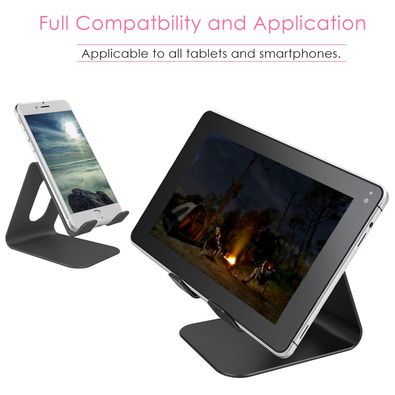 ifecco Cell Phone Stand, Mobile Phone Holder for Tablet All Android Smartphones, iPhone 7 Plus iPad (Upgrade Black)