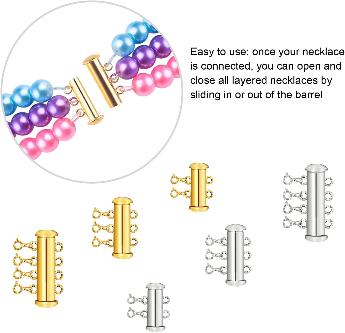 Slide Magnetic Necklace Clasp Connectors Tube Multi Strands Clasps Edivoi 18PCS Magnetic Clasps for Necklaces and Bracelets Stainless Steel Necklace Bracelet Extender Chain Set