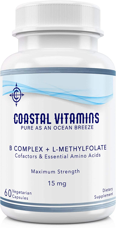 Coastal Vitamins L-Methylfolate 15 mg + B Complex Cofactors & Essential Amino Acids - Active Folate, Methylated B12, B6 and Glycine for Brain, Heart & Fetal Health, 60 Count (2 Month Supply)