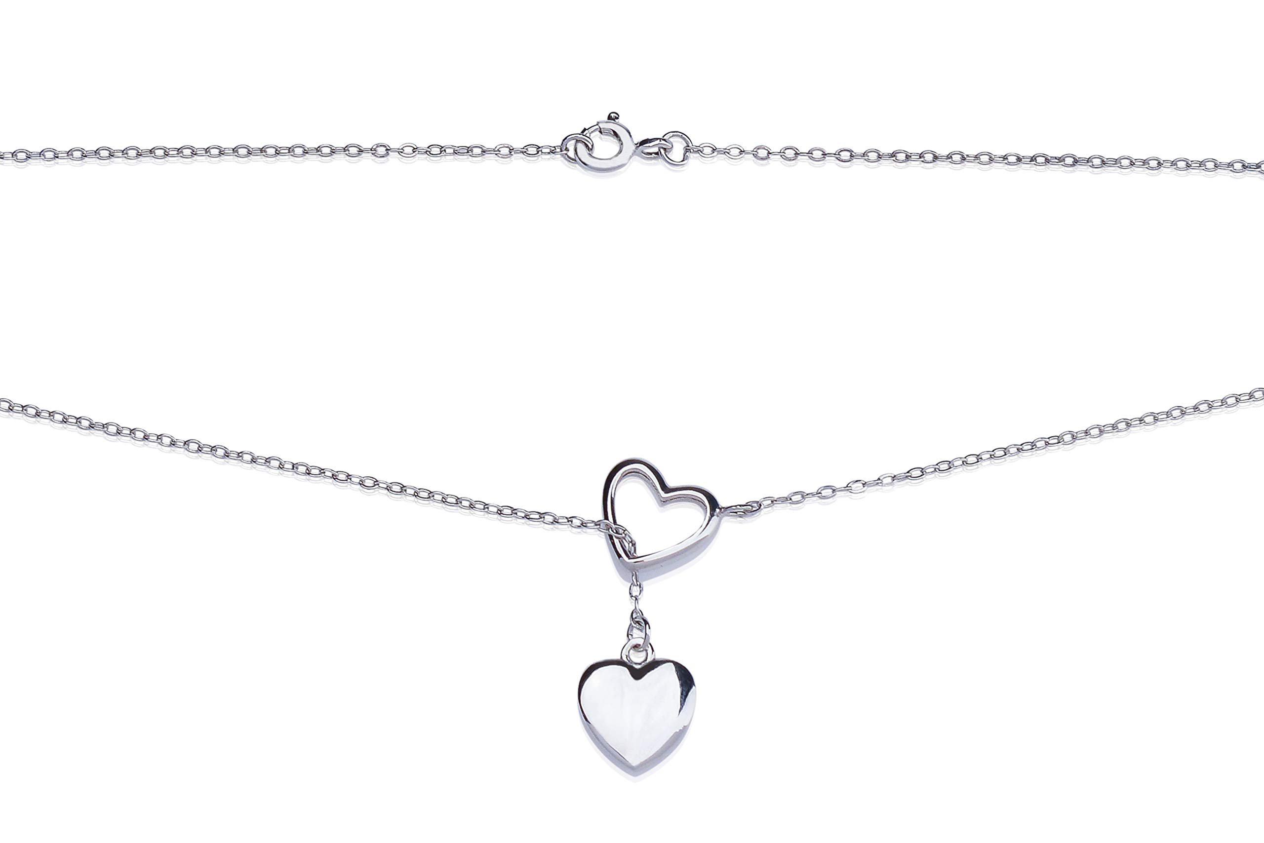 New Silver Rhodium Plated Lariat Y Necklace with Bamboo Jewelry Box for Women Tarnish Resistant Heart Necklace by New Silver
