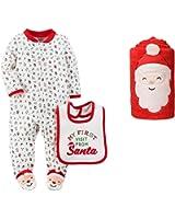 58b1af21a Carter's Baby Christmas Footed Sleep and Play Bib Set with Santa Blanket