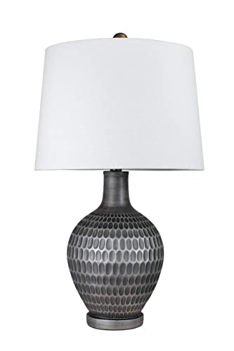 Grandview Gallery 26 Brushed Frost Silver Polyresin Table Lamp w White Shade