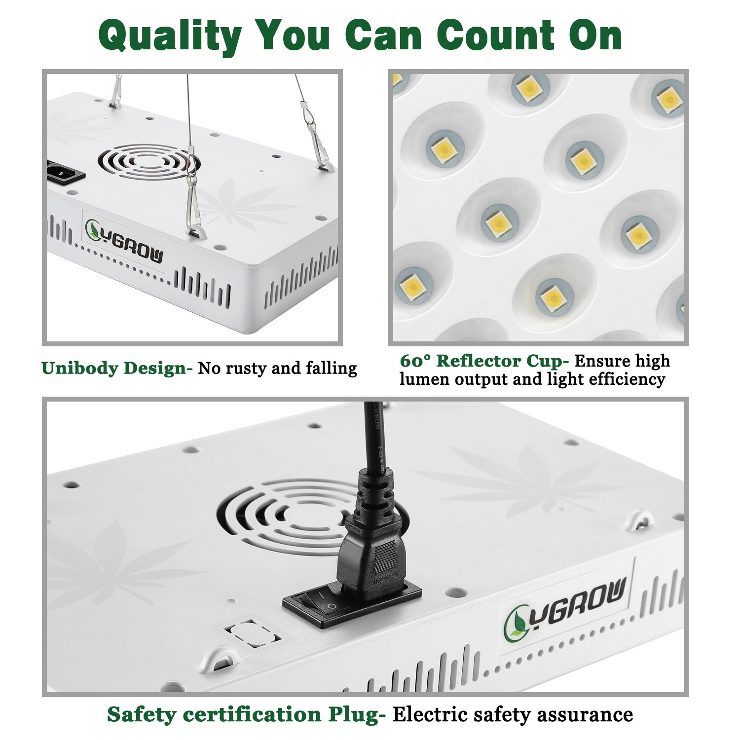 YGROW LED Grow Light Full Spectrum 600W,Reflector-Series Plant Grow Lights for Indoor Plants Veg and Flower with Heatproof Casing 3500K by YGROW (Image #8)
