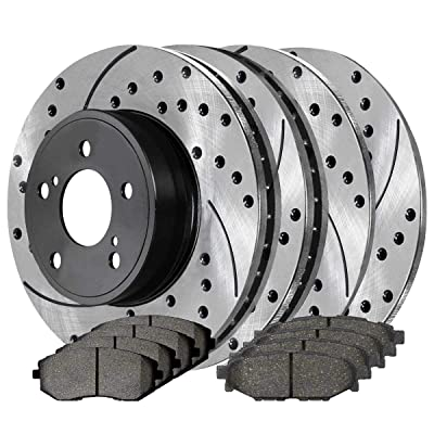 Auto Shack SCD929PR41405 Front Rear (4) Drilled Slotted Rotors (8) Ceramic Pads: Automotive