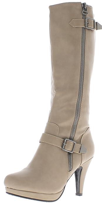 ChaussMoi - Botas de sintético para mujer, color marrón, talla 36