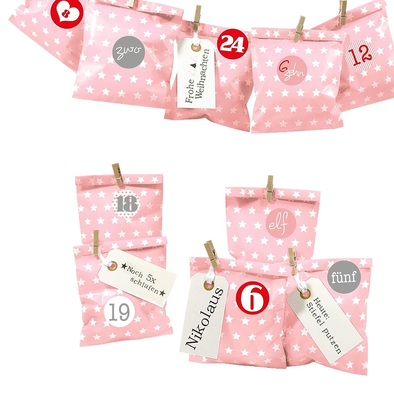 Frau WUNDERVoll® DIY Adventskalender zum Befüllen Bescherung: Set Punkt 148, Papiertueten flach 13x16,5cm, rosa Punkt, Ziffern blau