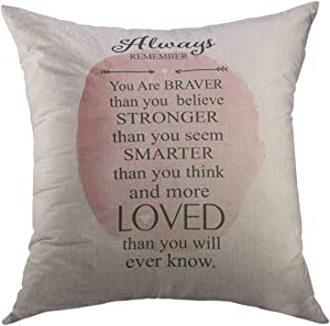Mugod Decorative Throw Pillow Cover for Couch Sofa,Loved Always Remember You Braver Stronger Smarter Pooh Home Decor Pillow Case 18x18 Inch