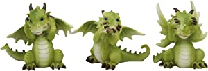 Ebros Gift Three Wise Dragon Set See Hear Speak No Evil Sentinel Whimsical Green Dragons Collectible Figurine Miniature Pack of 3 As Myth and Legends Fantasy Decor Medieval Renaissance Arts