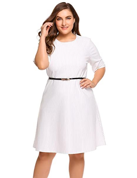 Involand Plus Size Vintage Dress Women Formal Evening Dresses Short Sleeve  Party Dress with Belt