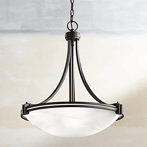 Deco Oil Rubbed Bronze Pendant Chandelier 21 1 2 Wide Modern Marbleized Glass Bowl 3-Light Fixture for Dining Room House Foyer Kitchen Island Entryway Bedroom Living Room – Possini Euro Design