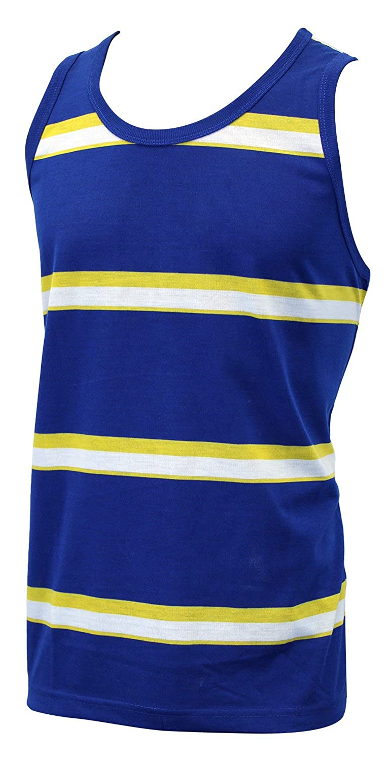 Enimay Mens Casual Solid Striped Tank Top Summer Muscle Shirt Gym Beach Workout Blue XX-large