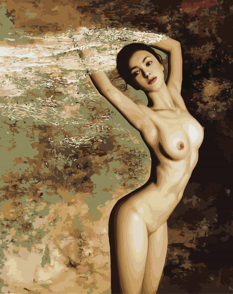 Diy Oil Painting Paint by number kit For Adults Kids Wall Art Paintings -Nude Sexy Girl Picture 16x20inch