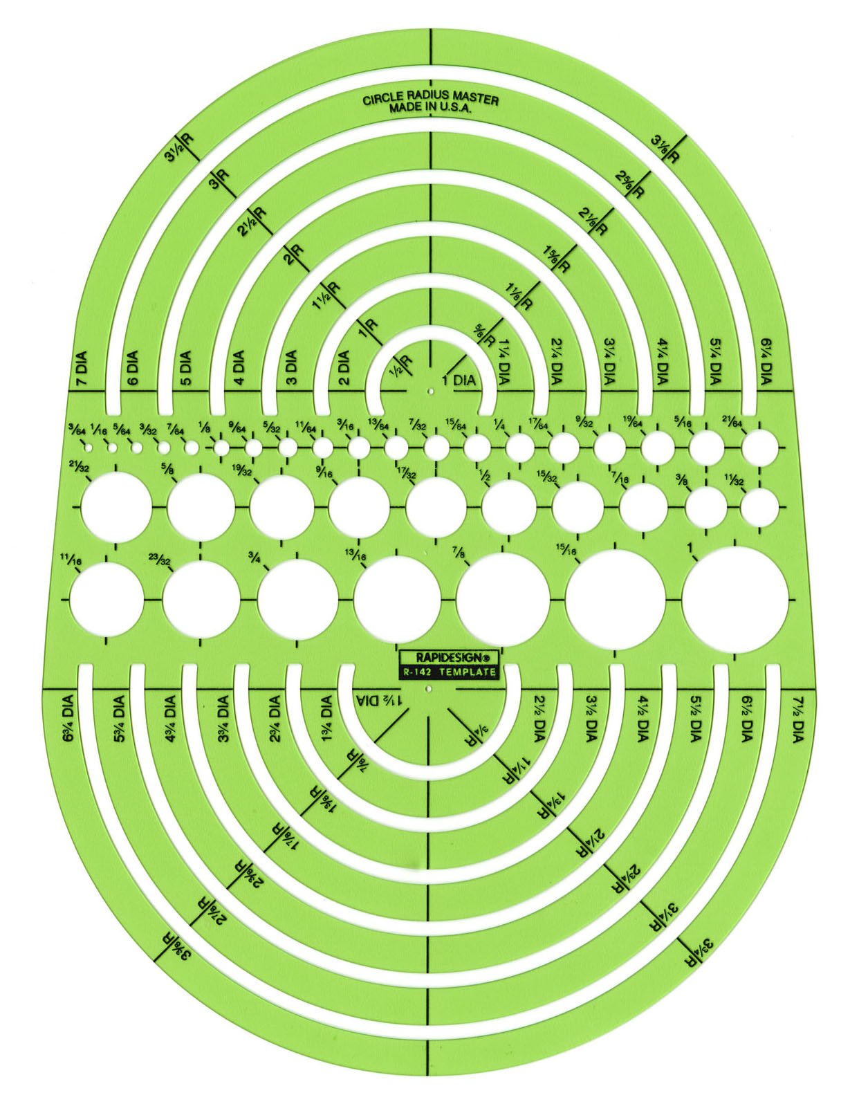 Rapidesign Circle Radius Master Template, 1 Each (R142)