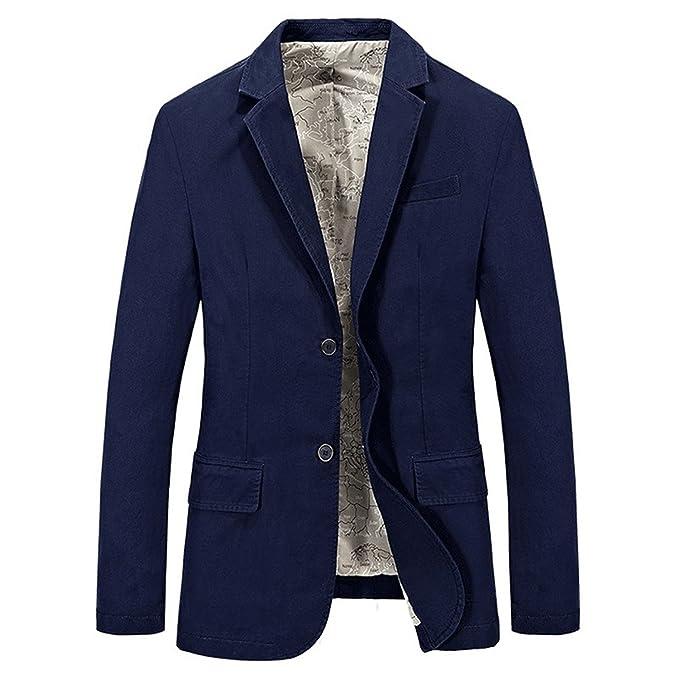 Botia Hombre Business Primavera Blazer Coat Gentry Otoño Algodón Azul Jeep Blazers Abrigos Slim Suits Chaquetas: Amazon.es: Ropa y accesorios