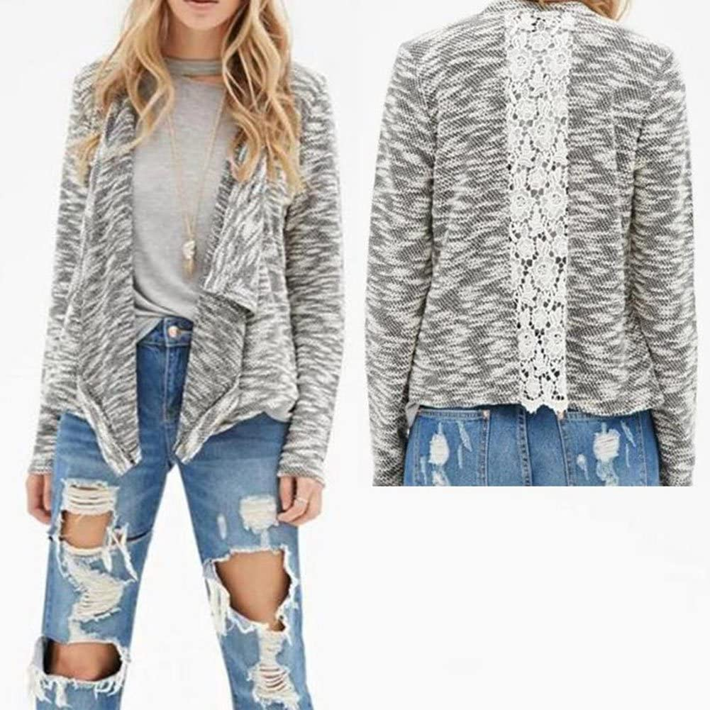 Vin beauty Womens Knit Cardigans Stitching Hollow Lace Winter Coats