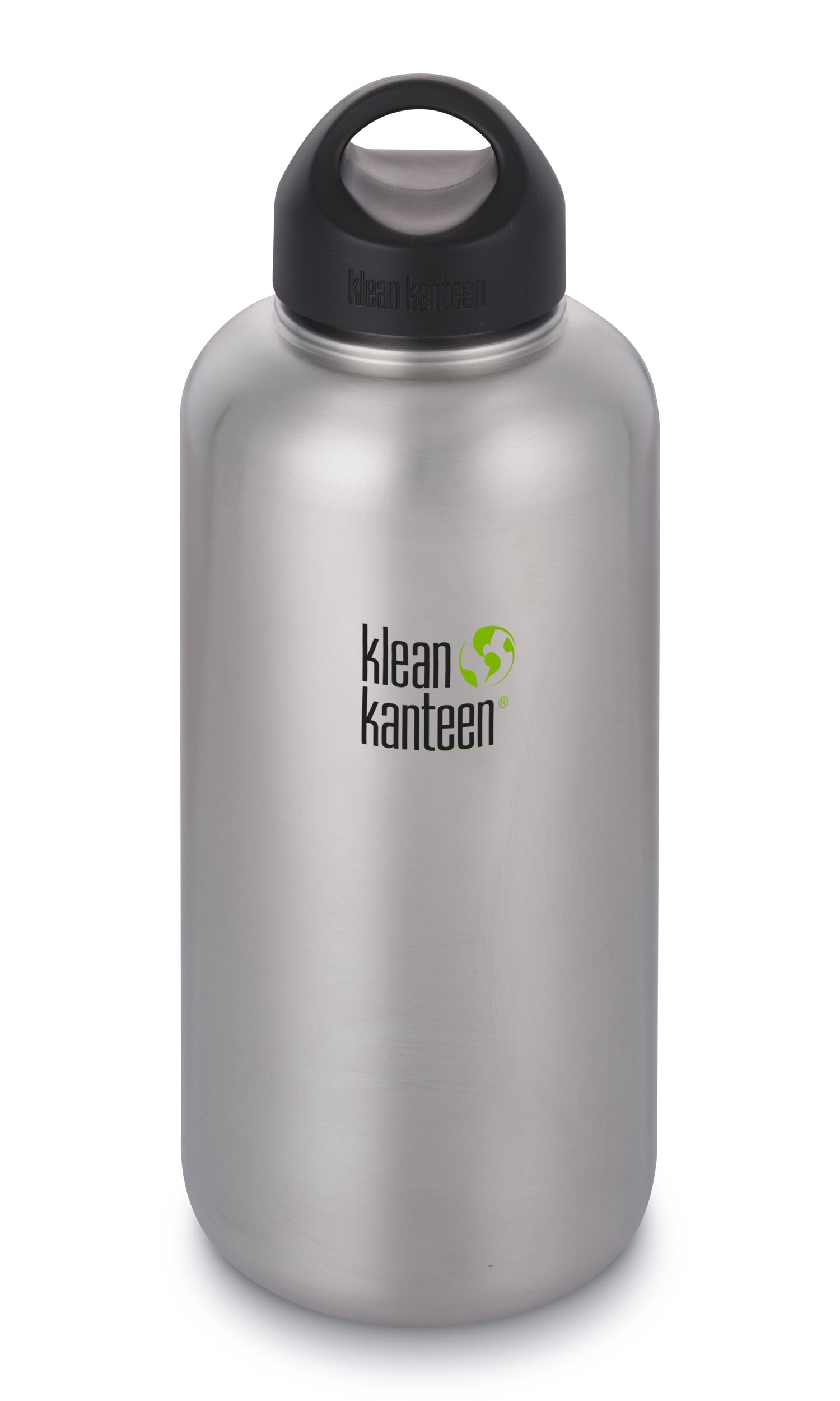 Klean Kanteen 64oz Wide Mouth Stainless Steel Water Bottle Single Wall with Leak Proof Stainless Steel Interior Cap - Brushed Stainless (New 2018)
