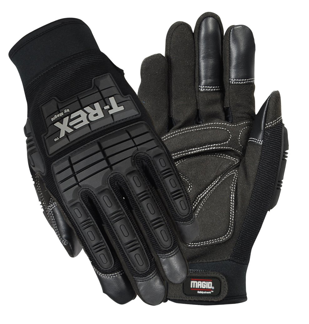 Magid Glove & Safety PGP49TL T-Rex Impact Ultra Gloves, Black, 8/M 1
