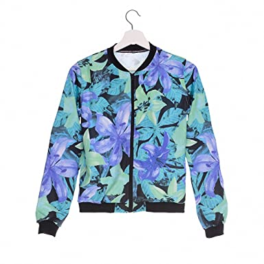 Fashion Women Bomber Jacket Printing Blue Mint Flowers Chaquetas Mujer Fashion Slim Jackets Outwear for Women