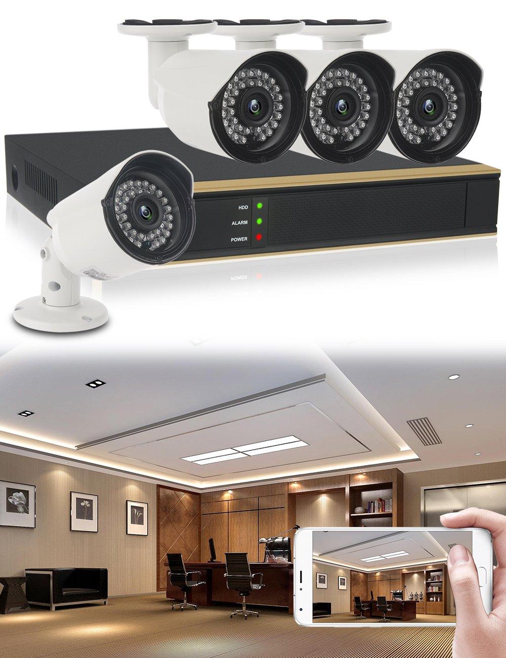 didseth HD 720P exterior Vigilancia (4 canales, 4 Cámaras impermeables exterior HD visión nocturna, detección de movimiento negro: Amazon.es: Bricolaje y ...