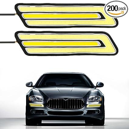 2 × Blade Shape High Power White HID LED Light For Car DRL Daytime Running Light