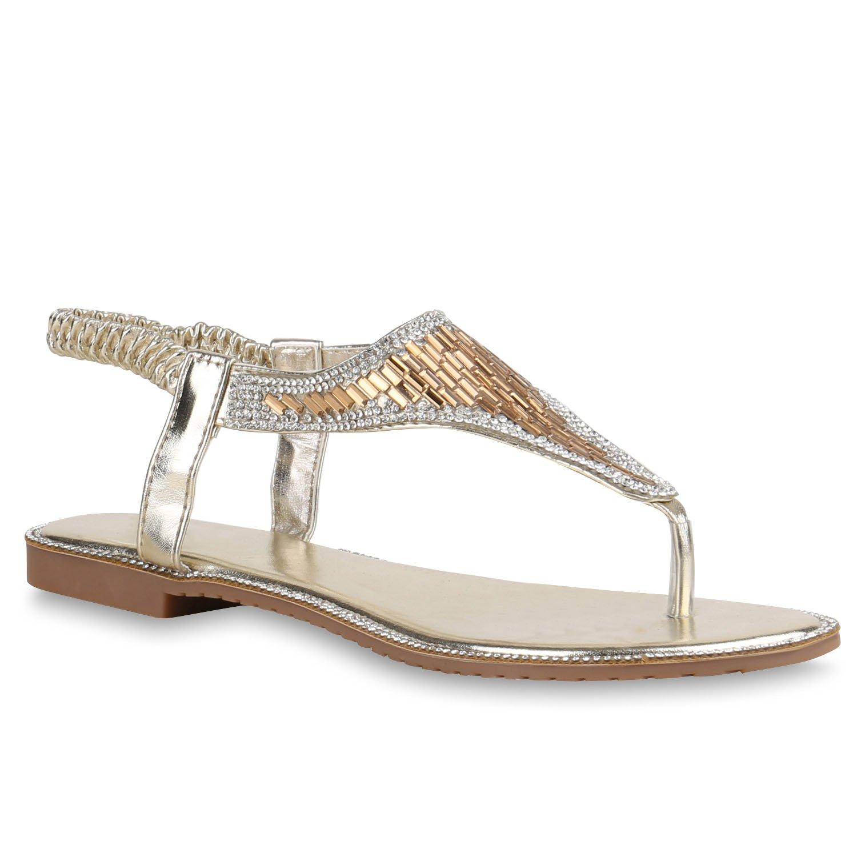 Stiefelparadies Damen Sandalen Zehentrenner mit Blockabsatz Flandell  38 EU|Gold Metallic
