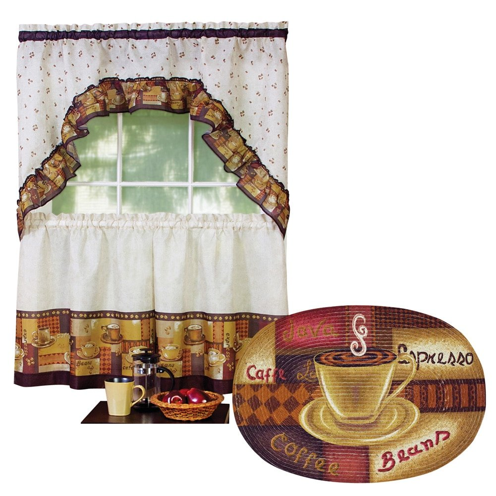 """Collections Etc Coffee Lovers Curtain and Rug Set, 57"""" X 24"""""""