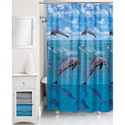 Image Unavailable Not Available For Color Essential Home Dolphins Shower Curtain