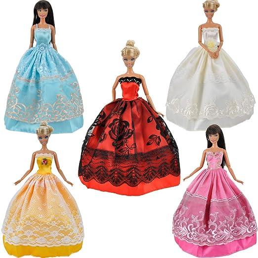 Amazon.es: E-TING 5 Pcs Vestidos Hechos a Mano Ropa Crece Ropa para Muñeca Barbie: Juguetes y juegos