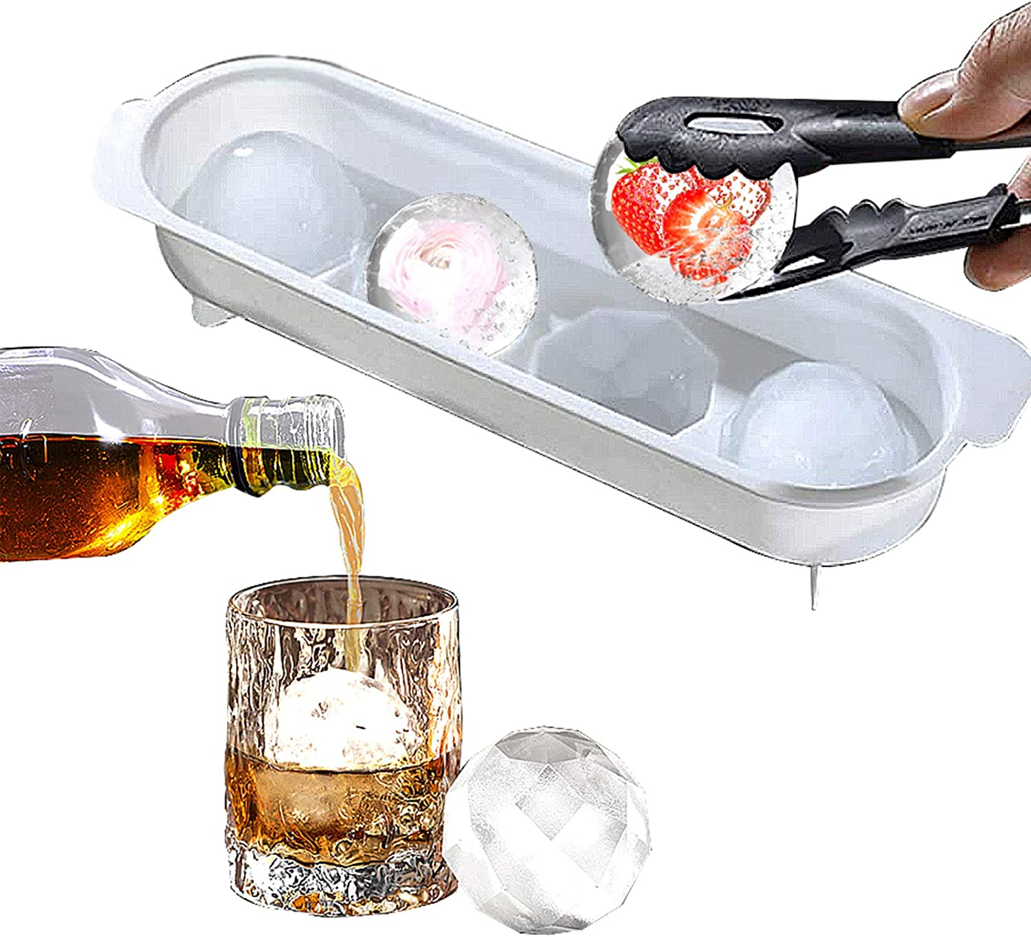 Round Ice Cube Mold, Ice Ball Maker Mold Food-Grade PP Material Non-Toxic, 2 Inches Large Ice Balls, Slow Melting, Creative Design Easy Ice Making, Perfect for Whiskey, Cocktails, Popsicle Making.