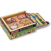 Melissa & Doug Paquete de mini rompecabezas de animales, de madera (cuatro rompecabezas de 4 piezas con estuche de almacenamiento)
