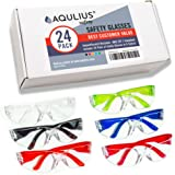 24 Pack of Safety Glasses (24 Protective Goggles in 6 Different Colors) Crystal Clear Eye Protection - Perfect for…