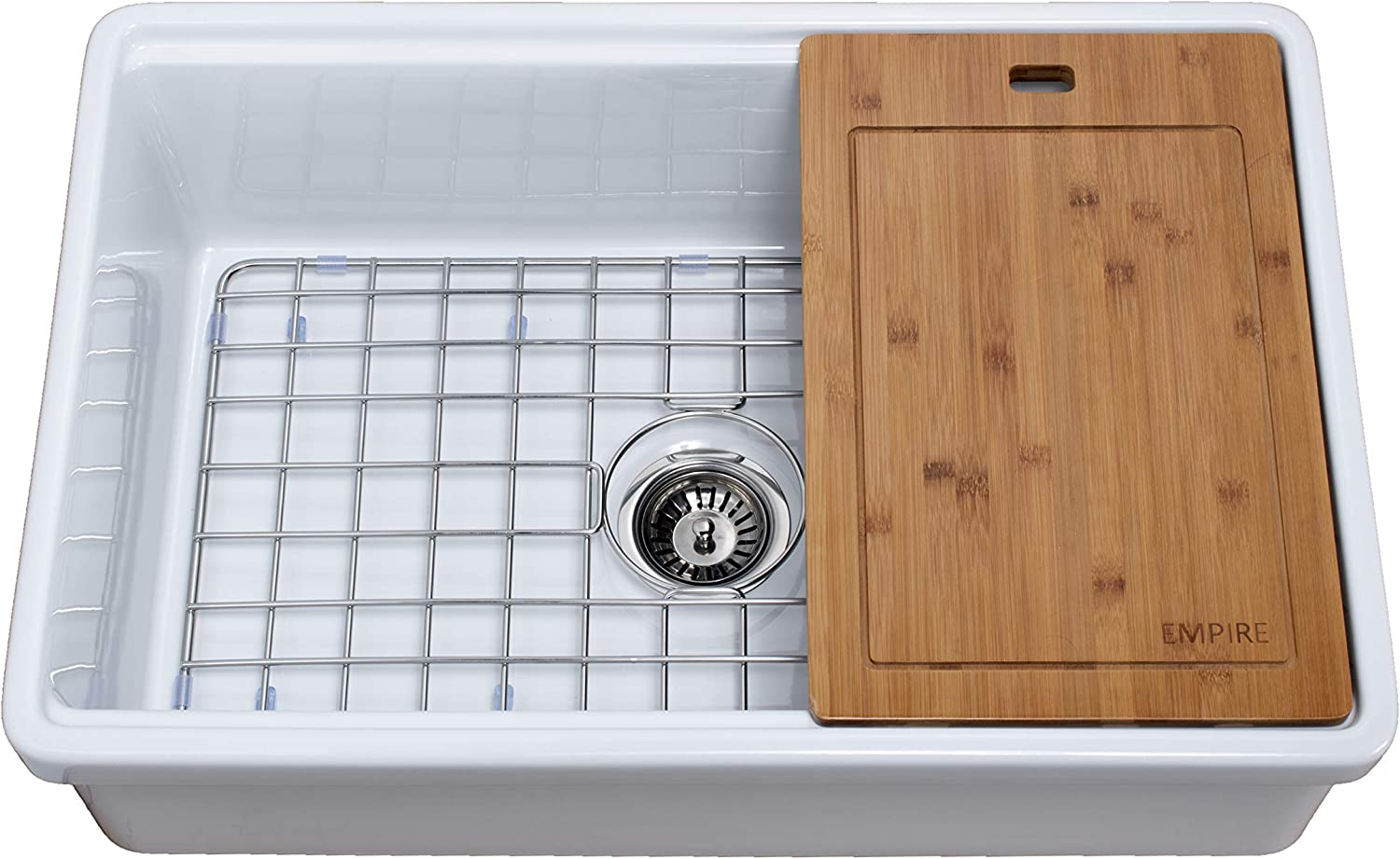 Empire Industries TO30 Tosca Reversible Farmhouse Fireclay Kitchen Sink with Cutting-Board, Grid and Strainer, 30 , White