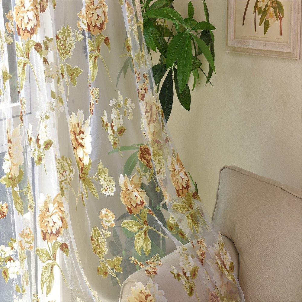 42 Wx96 H, Yellow AUSWIND Yellow//white Grommet Top Peony Printing Window Sheer Polyester one Panel