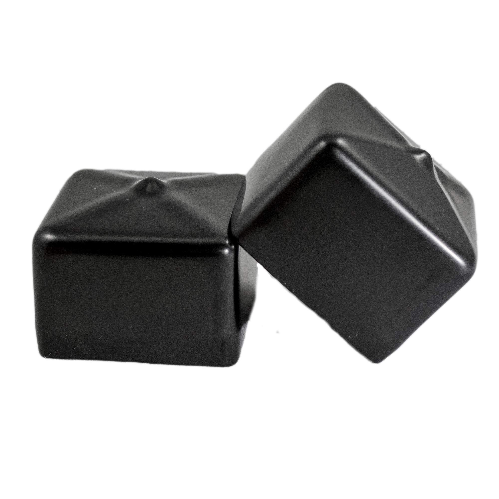 Prescott Plastics 1 1/2 Inch Square Black Vinyl End Cap, Flexible Pipe Post Rubber Cover ((C) Pack of 20 Caps) by Prescott Plastics