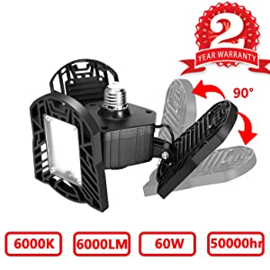 Led Garage Lighting, Deformable Garage Light 6000LM, 60W Shop Lights for Garage, Ultra-Bright Mining Lamps with 3 Adjustable Panels, Garage Ceiling Light for Workshop/Warehouse