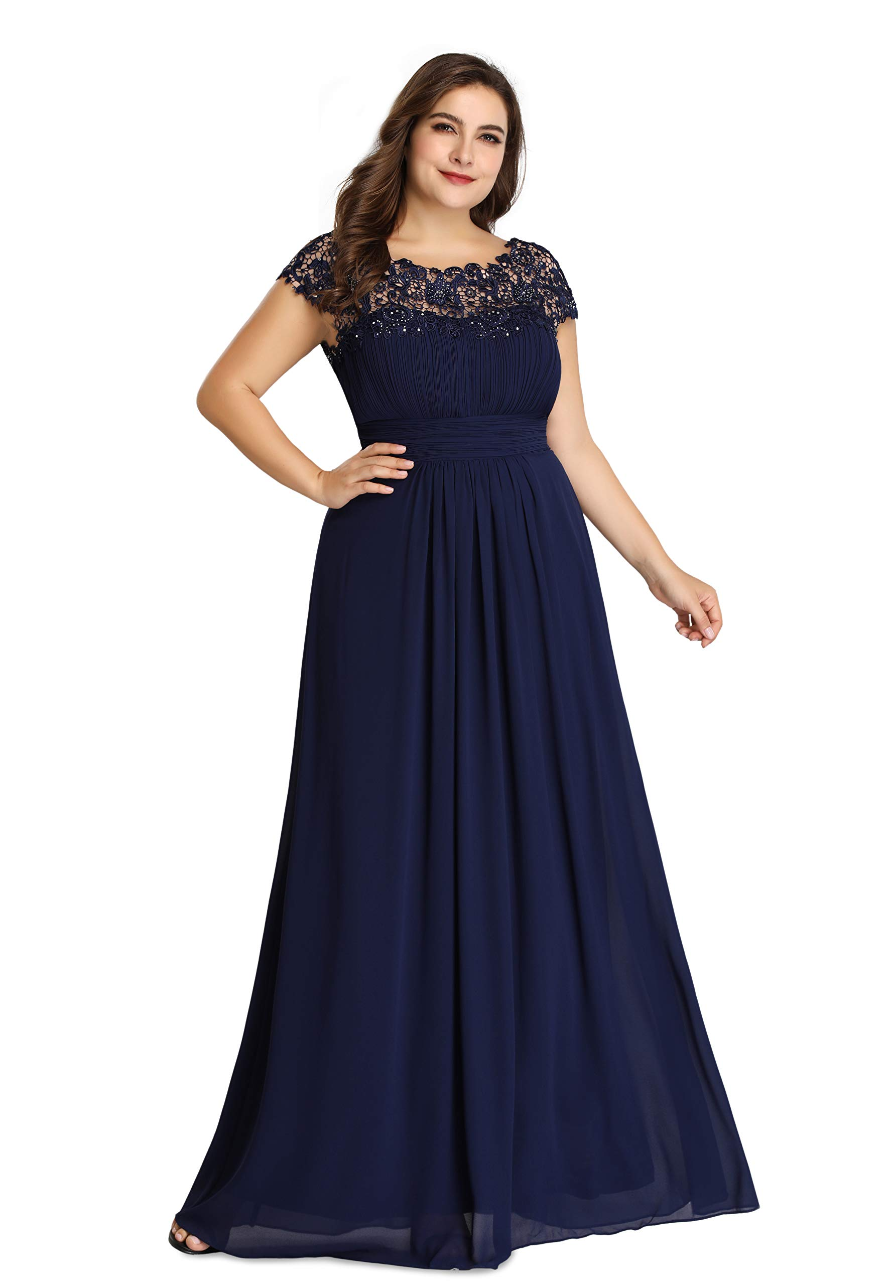 Ever-Pretty Womens A-Line Lace Plus Size Mother of The Groom Dresses for  Women Navy Blue US 18