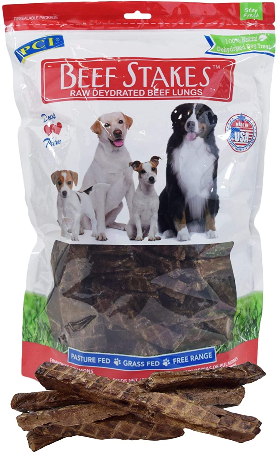 Pet Center, Inc. Beef Stakes Grain Free Dog Treats Protein Hearty Beef Taste Slowly Dehydrated,8 Ounces