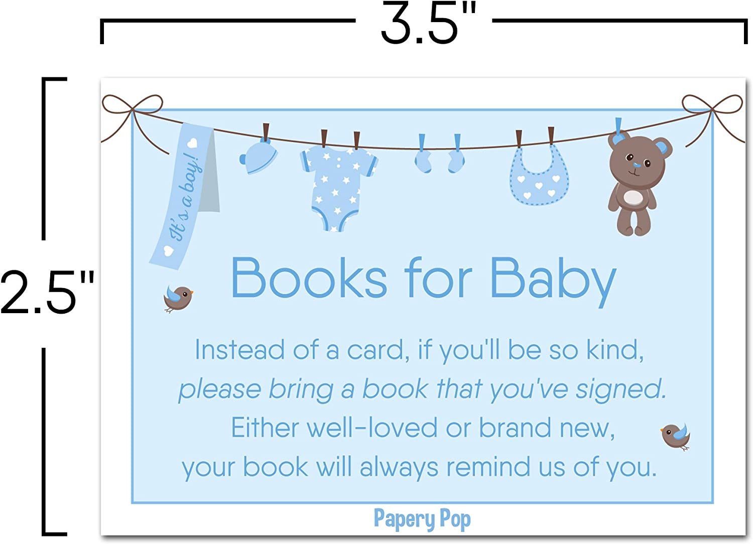 50 Pack 50 Books for Baby Shower Request Cards for Boy or Girl