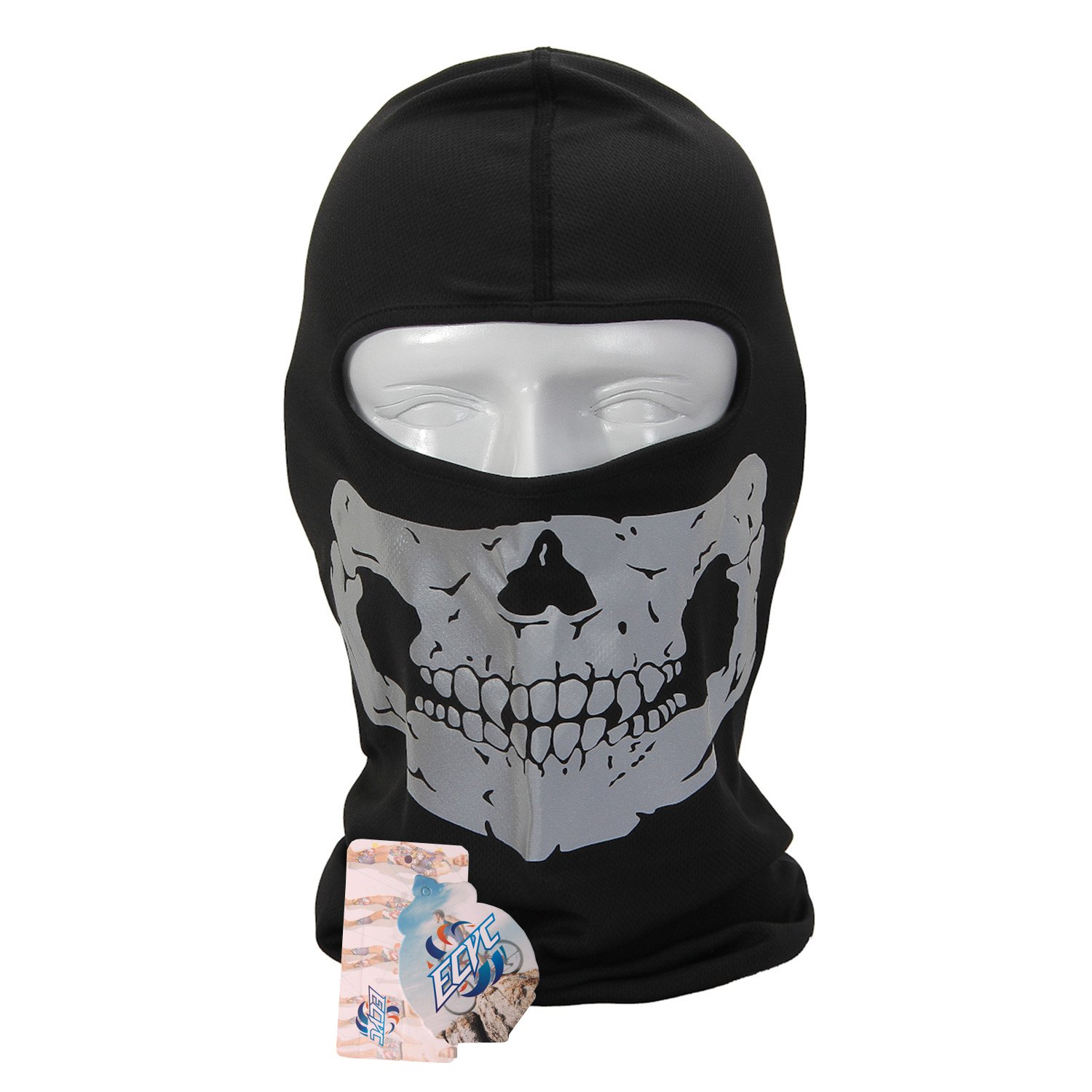 Full Face Motorcycle Bicycle Bike Skull Mask Snowmobile Hood Neck Balaclava Hat Silver