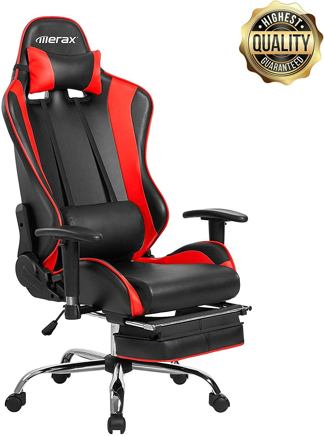 SOREKI Ergonomic Gaming Chair Racing Style High Back Computer Game Chair and Seat Design Features PU Leather with Footrest