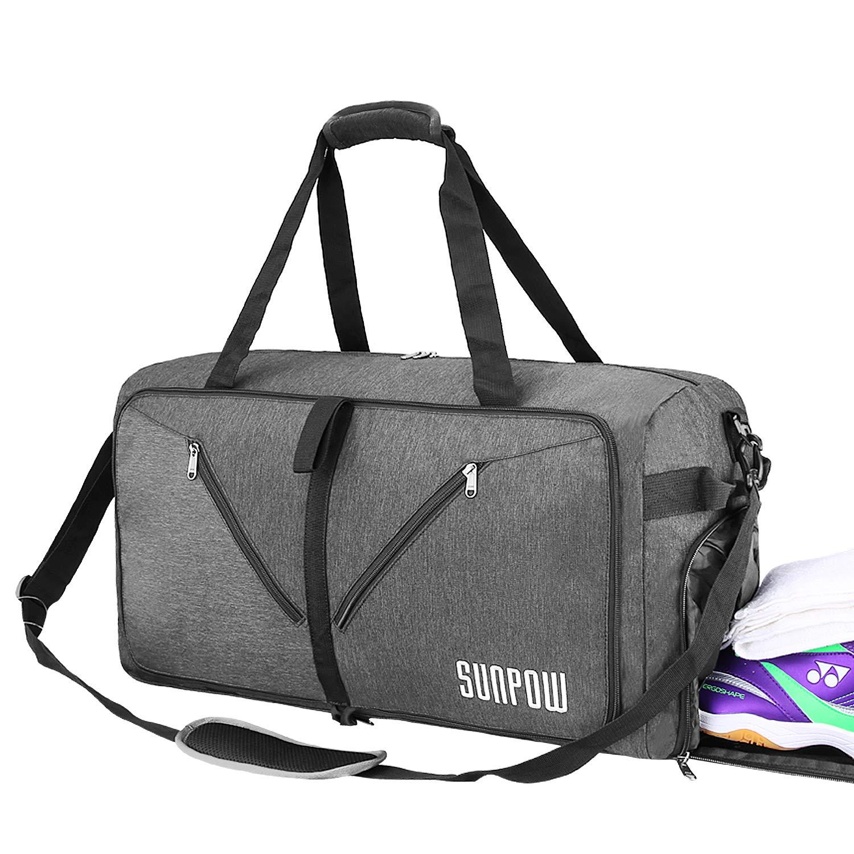 SUNPOW 65L Travel Duffel Bag, Weekender Bag With Shoes Compartment Tear Resistant Foldable Duffle Bag For Men Women Dark Grey