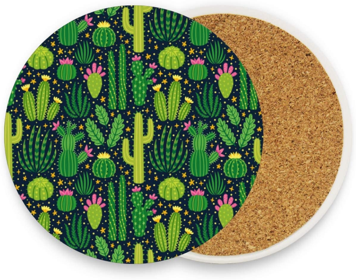 visesunny Green Cacti Desert Plant Drink Coaster Moisture Absorbing Stone Coasters with Cork Base for Tabletop Protection Prevent Furniture Damage, 2 Pieces