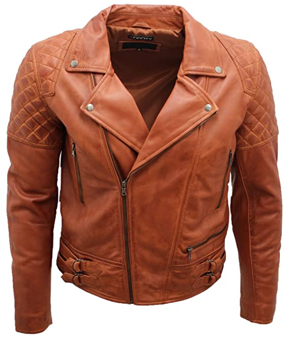 Mens Retro Brando Quilted Olive Brown Tan Leather Biker Jacket at Amazon Mens Clothing store: