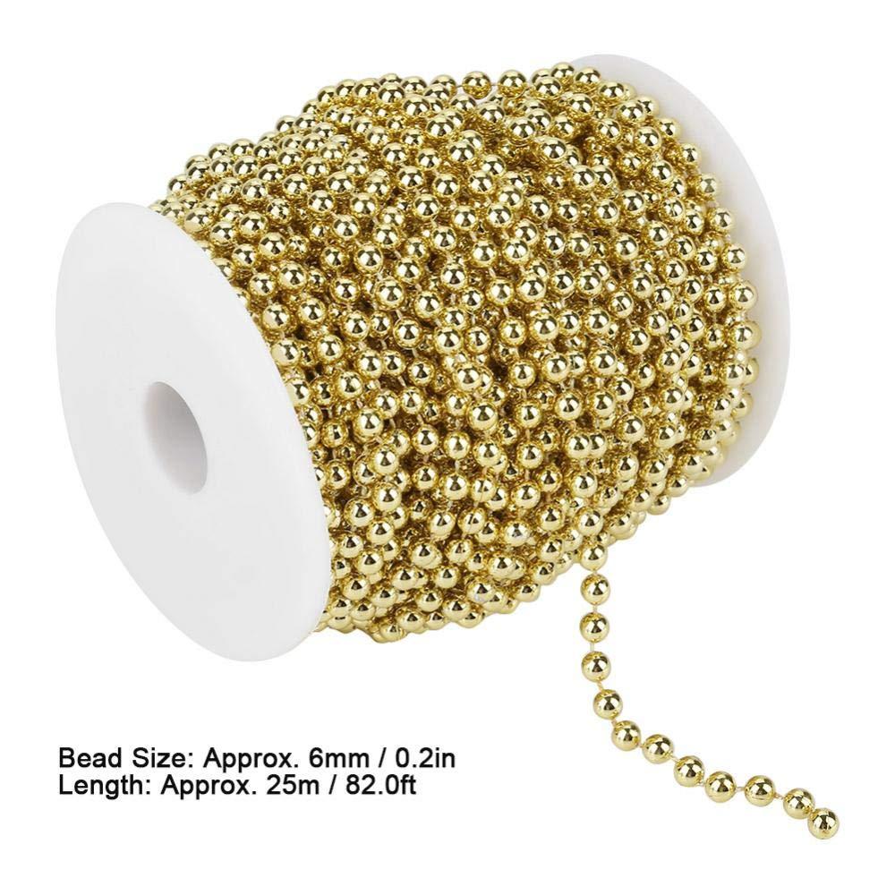 Ghirlanda Perle Perline Decorazione di Nozze Ghirlanda Diametro 6mm Oro o Argento 25m Placcato Elettrolitico Catena di Perle per Decorazioni Natale Gold Matrimonio