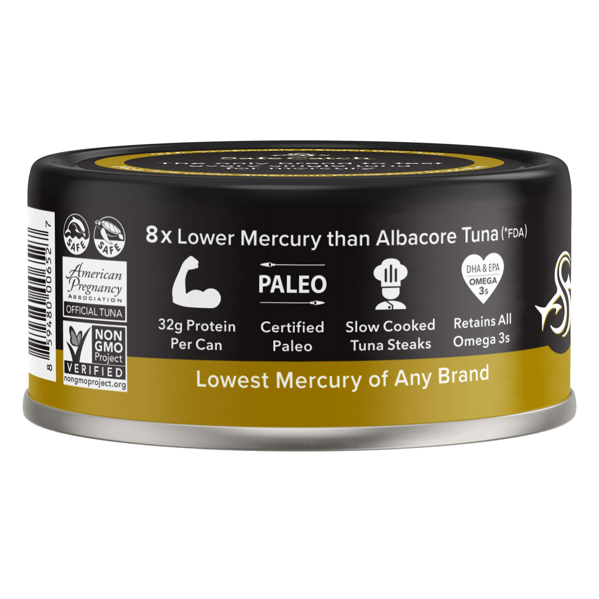 Safe Catch Ahi, Lowest Mercury Solid Wild Yellowfin Tuna Steak, 5 oz Can. The Only Brand to Test Every Tuna for Mercury (6 Pack in Extra Virgin Olive Oil) by Safe Catch (Image #2)