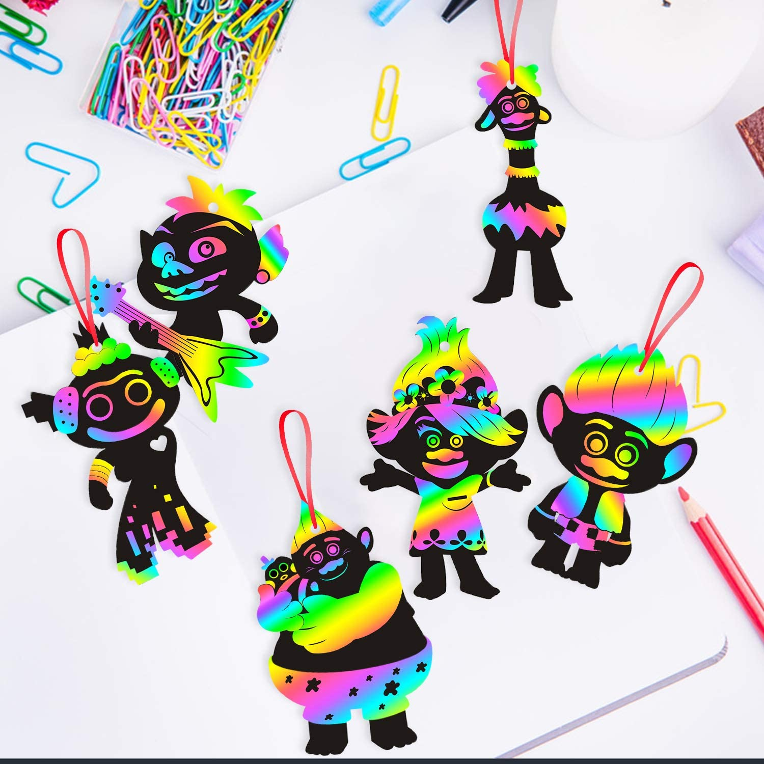 ANGOLIO 60Pack Trolls Scratch Art Set Theme Crafts Kit Rainbow Magic Scratch Paper Art Black Scratch Off Supplies Kits Rainbow Holographic Mini Notes Party Favor Birthday Game for Girls Boys